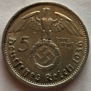 GERMANY: Third Reich: 5 mark 1936 A, silver, Swastika