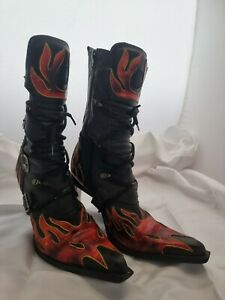 NEW ROCK flame stiletto leather boots 39 au 8