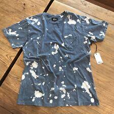 """Two New Imperial Motion """"Badge Acid"""" Pocket T-Shirts Medium Indigo Blue & Grey"""