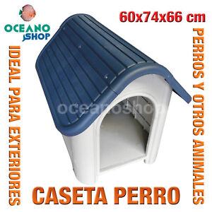 CASETA CASA PERROS EXTERIOR AZUL GRIS RESISTENTE CALIDAD 90x62x75 cm L524 1534