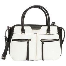Nine West Just Zip It Medium Satchel Women Bag Snow Petal/Black Faux Leather New