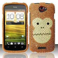 T-Mobile HTC ONE S Crystal Diamond BLING Hard Case Phone Cover Monkey Face