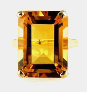 Stunning Top Color Emerald Cut Citrine Ring, 16X12 MM, 10k Yellow Gold