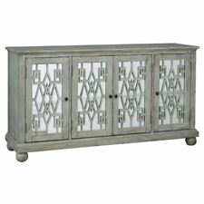 Pulaski Mirrored Door Console Table In Distressed Gray
