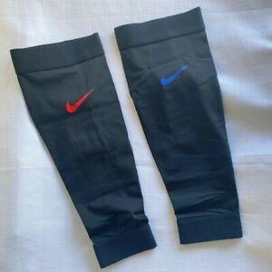 Nike Power Calf Sleeves Adult Unisex XL Black Red Blue Check NEW in bag (U)