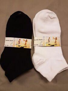 12 Paar Damen Socken Schwarz/Weiß kurz Freizeit Frauen Sneaker  Gr. 35-38/39-42