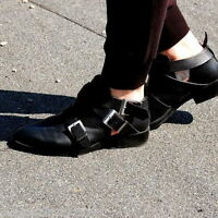 ZARA BLACK LEATHER ANKLE BOOTS WITH BUCKLES SIZE UK5/EUR38/US7.5 RRP £69.99