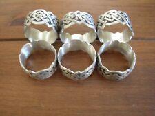 Set of 6 Celtic Weave Pewter Napkin Rings