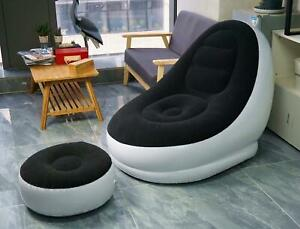 NEW INFLATABLE BLACK DELUXE LOUNGER & FOOTSTALL SEAT RELAX COUCH OTTOMAN CHAIR