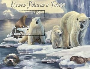 GUINEA BISSAU POLAR BEARS & SEALS STAMPS SS '12 MNH WILD ANIMALS WILDLIFE ARCTIC