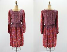 Prairie Dress - Vintage Spring Long Sleeve Floral Dress (L XL)