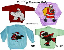 Christmas Jumper Sweater Knitting Patterns x4 #15 Santa Robin Teddy Polar Bear