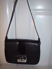 NWT Michael Kors Lila Black Large Leather Shoulder Strap Flap Handbag