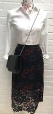 New Topshop Pencil Skirt Midi 10 Black Navy Floral Lace Crochet