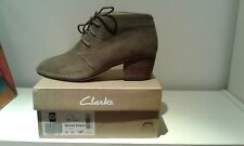 womens ankle boots size 4D Clarks Spiced Charm khaki suede