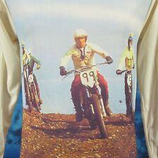 NOS vtg 70s MOTOCROSS PHOTO PRINT L/S T-Shirt XS motorcycle mx biker jersey 80s