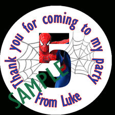 Personalised Birthday age 1-16 SPIDER MAN Labels Sticker Party sweet cone bags