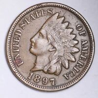 1897 1 IN NECK ERROR! Indian Head Small Cent CHOICE XF+/AU FREE SHIPPING E177KRC