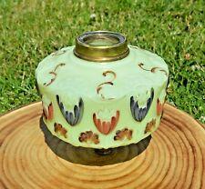 More details for antique hand painted floral lemon yellow uranium glass oil lamp font.
