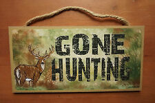 GONE HUNTING Rustic Camouflage Camo Deer Hunter Cabin Lodge Home Decor Sign NEW