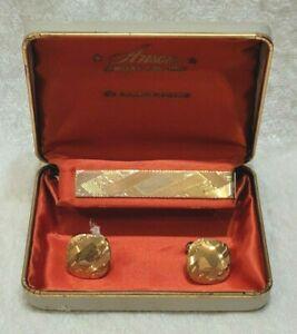 Vintage Anson Cufflinks Tie Money Clip Gift Box 12 KT Gold Filled Set