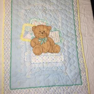 "Teddy Bear Wicker Chair Quilt Handmade Crib Blanket Comforter 27"" x 42"""