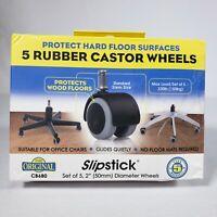 "Set of 5: 2"" Castor Floor Protecting Rubber Office Chair Caster Wheels Slipstick"