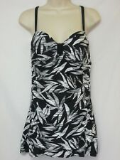 NWT Beach Diva Control One-Piece Swim Dress Black, White & Silver Size 10