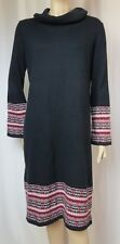 Laura Ashley Strickkleid 40 schwarz Baumwolle Kaschmir Winter Norweger rot grau