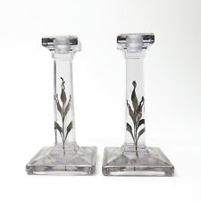 Vintage Pair Purple GLASS CANDLESTICK CANDLE HOLDER Silver Painted Design