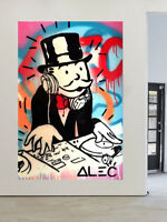 Painting Graffiti Street Art Banksy Dj Alec Money Man Monopoly Canvas Australia