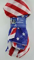 CVS Womens Ladies Red White Blue Flag Scarf Vest One Size NEW