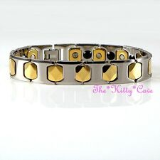 Magnetic Tungsten Pain Relief Unisex Hexagon 2tone 24K Gold Plt Rhodium Bracelet