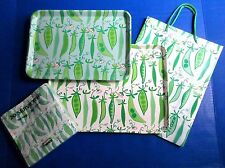 Tiger Boutique Green Blue PEA in POD Tray Set 2 Gift Bag 20 Napkins NWT New