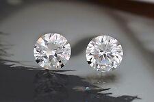 14K White Gold Lab Flawless Diamond Round Cut Push Back Stud Earrings 8TCW
