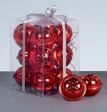 12 x RED Snowflake Jingle Bells Baubles Christmas tree Decorations arts crafts