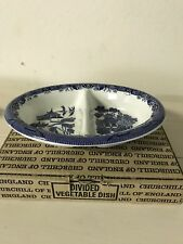 Churchill of England China -Blue Willow-Divided Vegetable Dish- New in Box