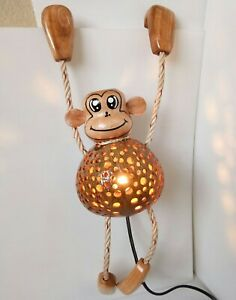 Coconut Shell Wood Table Lamp Bedside Desk Lamp Home Decor Gift Monkey