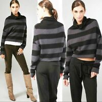 Women's Vince black gray stripe wool blend cropped sweater Medium