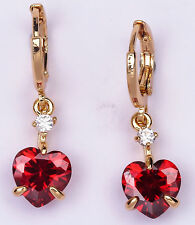 18K Yellow Gold Filled - 8mm Heart Ruby Topaz Zircon Hoop Prom Gemstone Earrings