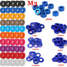 NEW CNC M3 0.25mm-3mm Color Aluminum Alloy Flat Washers Round Spacer Anodized