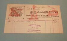 1901 Allen Bros. Stencils Steel & Rubber Stamps Advertising Billhead Boston Ma