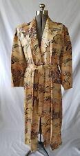 Vintage Japanese Embroidered  Silk Rayon Robe Landscape Kimono Robe Coat 30s 40s