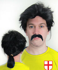 David Seaman Pony Tail Wig & Moustache Football Fancy Dress England Arsenal