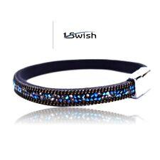 1Swish Leather Rhinestone Magnetic Clasp Bohemian Wrap Blue Bracelet For Women