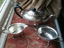 Old Vintage Antique English Teapot Tea Set Silver Plated c.1920 Jug & Bowl Fine