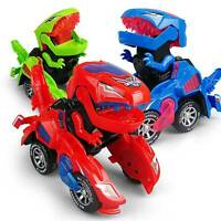 Electric Transforming Dinosaur LED Car T-Rex Toys With Light Sound Kids Home Toy