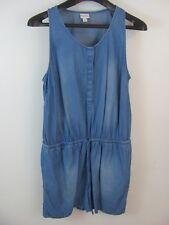 abb4f4bcbc4 Merona Womens Indigo Sleeveless Romper Size L Button Front With Waist Tie  NWOT