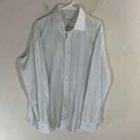 Isaia Napoli Striped Dress Shirt White Blue Italy 17 43