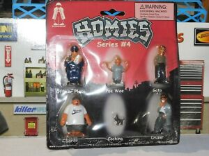 Homies Series 4 Officer Placa, Pee Wee, Gato, Gordo Cochino, Cruzer 2002 RARE